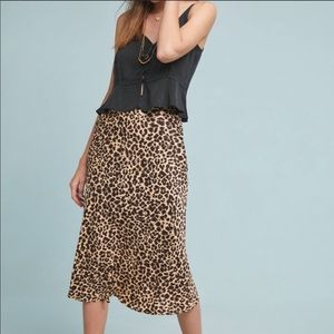 Anthropologie leopard print midi skirt